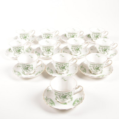 """Royal Chelsea """"Evergreen"""" Bone China Cups and Saucers for Twelve, Mid-20th C."""