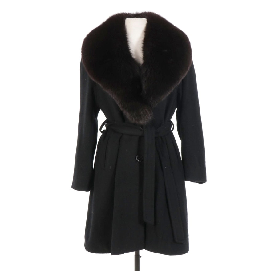 Black Wool Coat with Tie Belt and Panos Fox Fur Shawl Collar