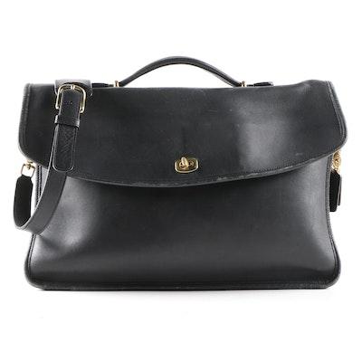 Coach Lexington Legacy Black Leather Briefcase with Shoulder Strap