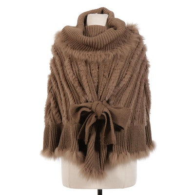 Cowl Neck Knit Poncho with Rabbit Fur Trim