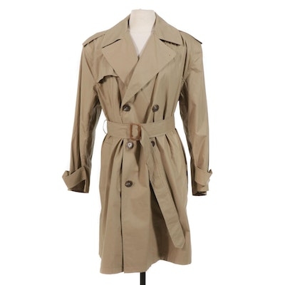Women's Ralph Lauren Double-Breasted Khaki Trench Coat