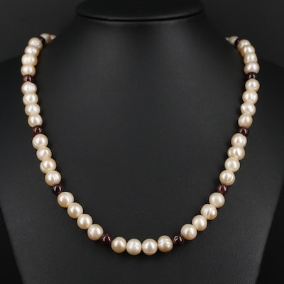 Pearl and Garnet Necklace With Sterling Silver Clasp
