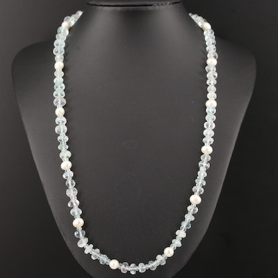 Aquamarine and Pearl Strand Necklace with Sterling Silver Clasp