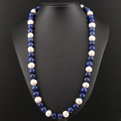Lapis Lazuli and Cultured Pearl Strand Necklace with Sterling Silver Clasp