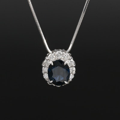 Adjustable Platinum 1.79 CT Sapphire and Diamond Necklace