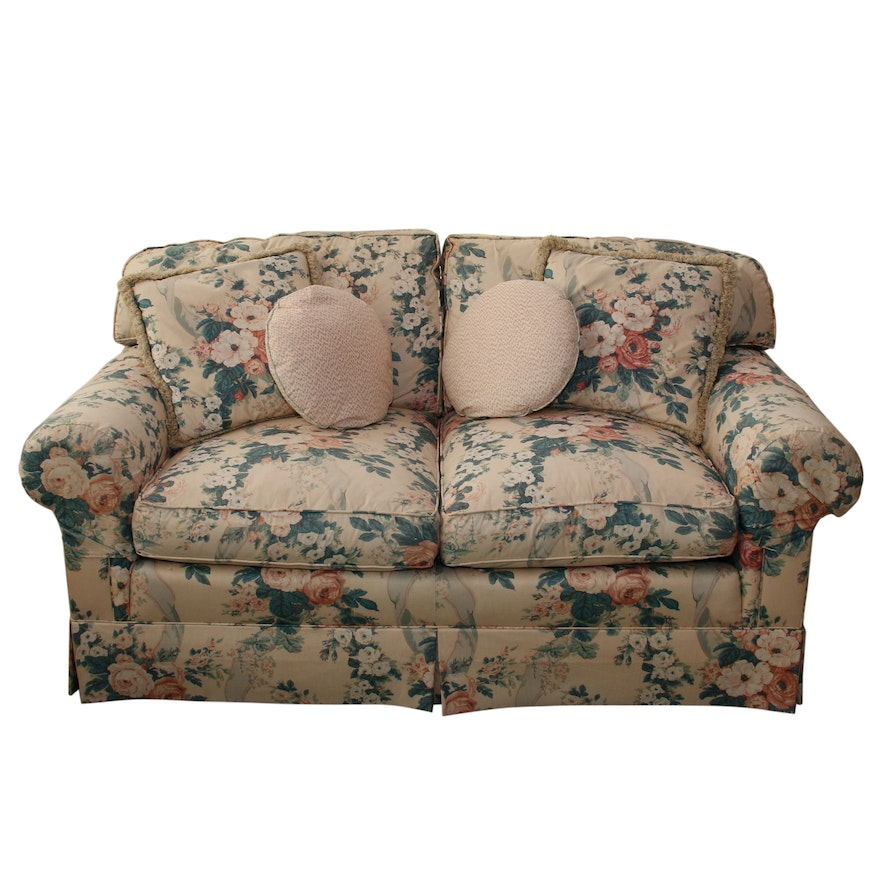 Schoonbeck Henredon Floral Upholstered Loveseat with Down Cushions