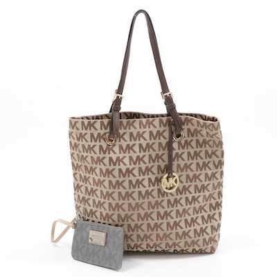 Michael Kors Monogrammed Canvas and Leather Tote with Wristlet