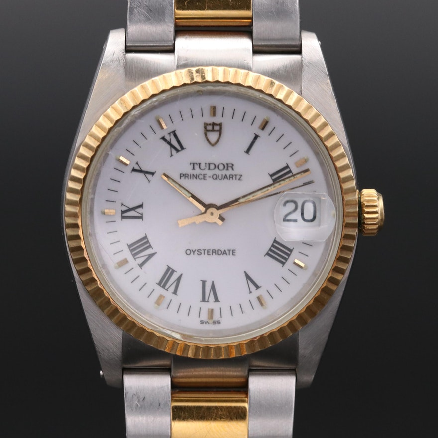 Vintage Tudor Prince Quartz Oysterdate Two Tone Wristwatch