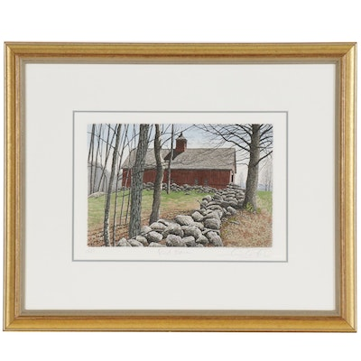 """Carol Collette Etching with Aquatint """"Red Barn"""""""