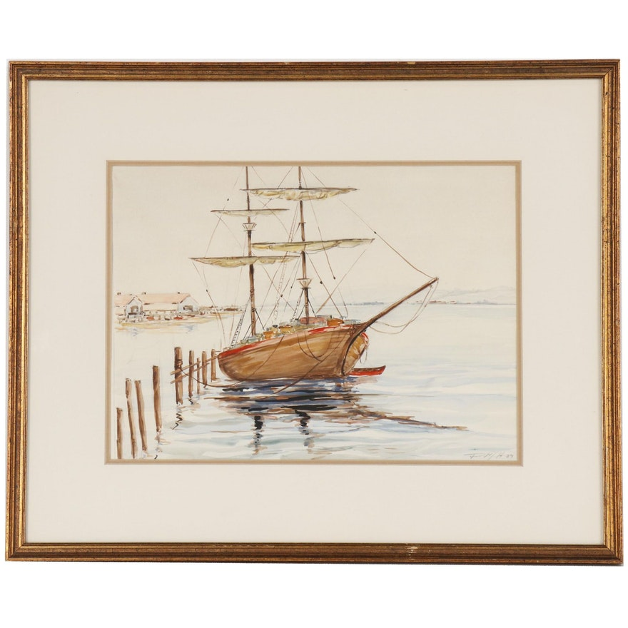 Watercolor Painting of Moored Wooden Sailing Ship