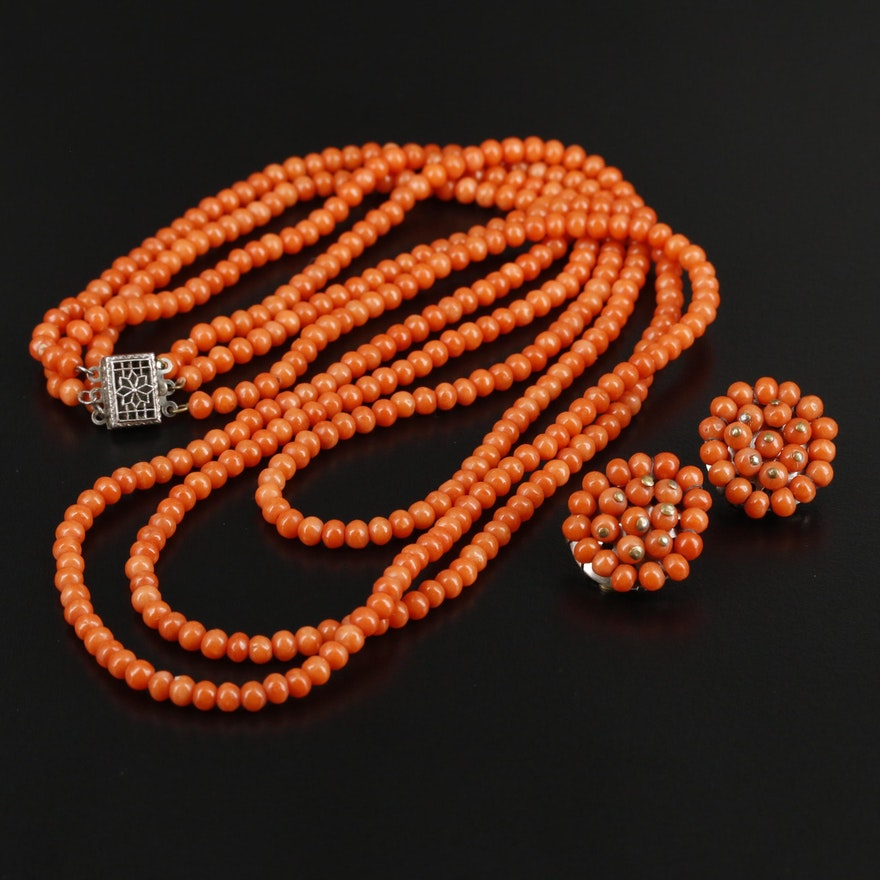 Vintage Triple-Strand Coral Necklace and Matching Earrings