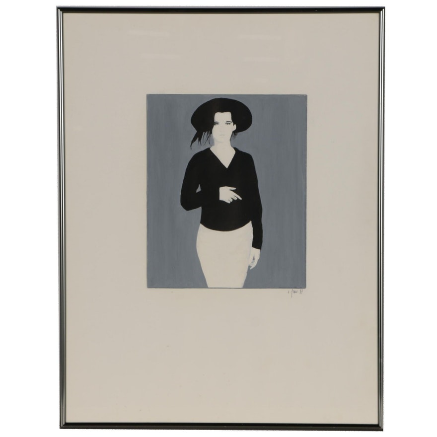 Gouache Painting of Woman in Hat