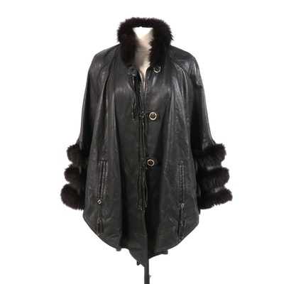 Black Leather Poncho with Fox Fur Trim