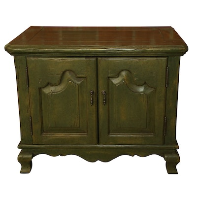 French Provincial Style Wooden Storage Cabinet in Olive Green