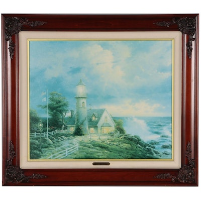 """Thomas Kinkade Hand-Embellished Offset Lithograph """"A Light in the Storm"""""""