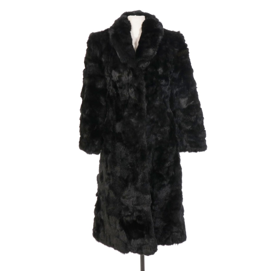Dyed Rabbit Fur Coat with Quilted Lining, Vintage