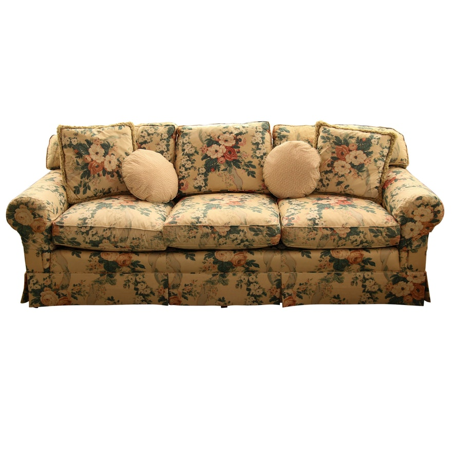 Schoonbeck Henredon Floral Upholstered Sofa with Down Cushions