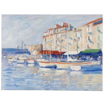 "Nino Pippa Oil Painting ""French Riviera St. Tropez"", 2017"