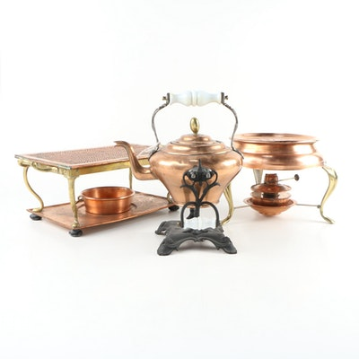 Copper and Brass Warming Stands, Kettle, and More