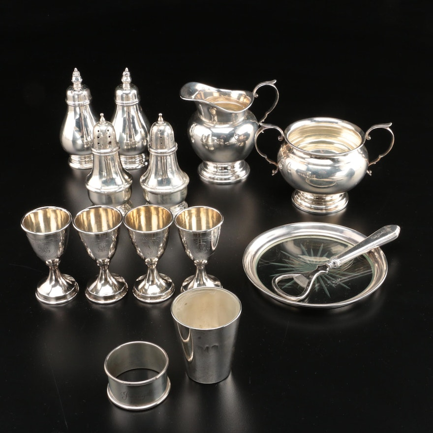 """Gorham """"Puritan"""" Sterling Silver Creamer and Sugar and Other Sterling Serveware"""