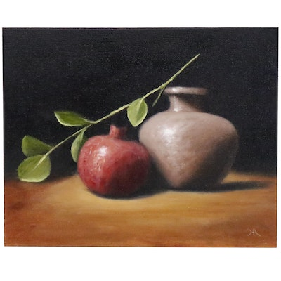 """Houra H. Alghizzi Still Life Oil Painting """"Pomegranate and Vase"""""""