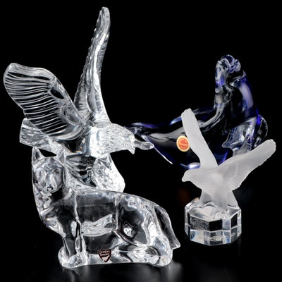 Crystal and Art Glass Animal Figurines Including Orrefors and Goebel