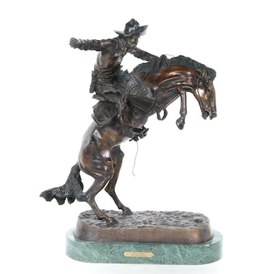 "Bronze Sculpture after Frederic Remington ""Bronco Buster"""