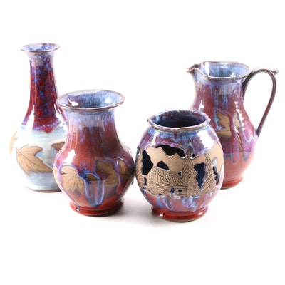 Robert Alewine Art Pottery Vases and Pitcher