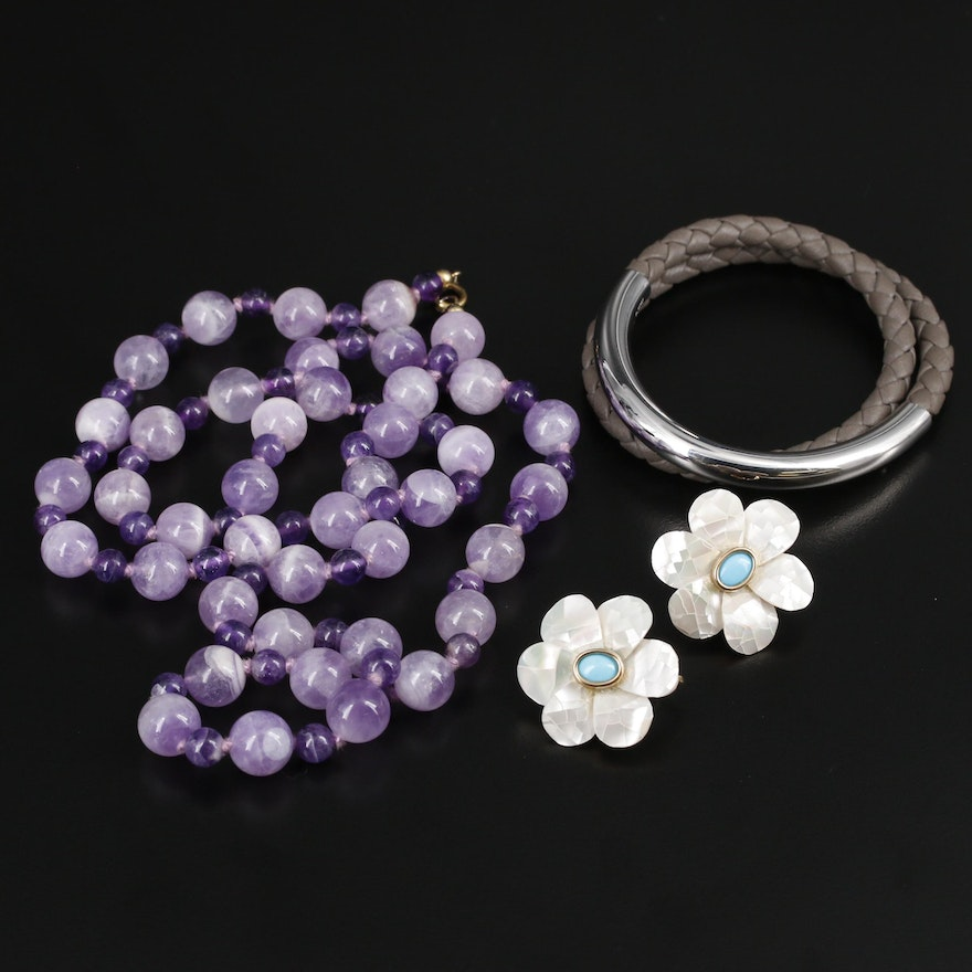Amethyst Necklace, Mother of Pearl Earrings and Christofle Duo Complice Bracelet