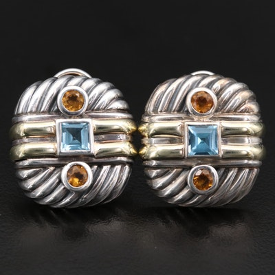 David Yurman Sterling Blue Topaz and Citrine Earrings with 14K Gold Accents