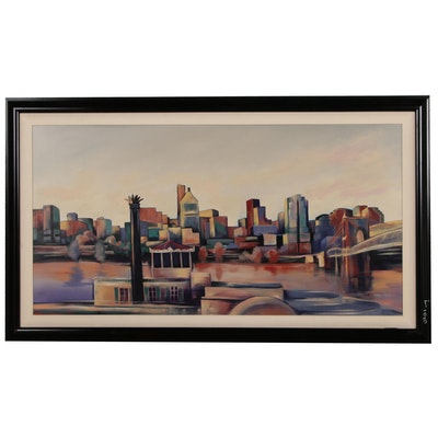 Cincinnati Skyline Monumental Acrylic Painting