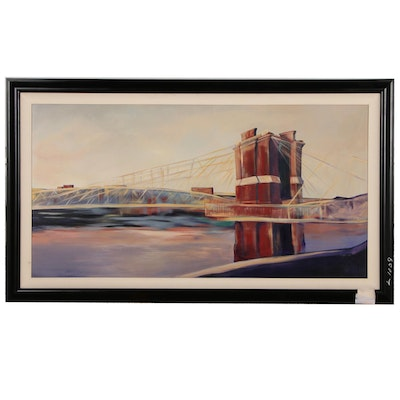 Cincinnati Roebling Bridge Monumental Acrylic Painting