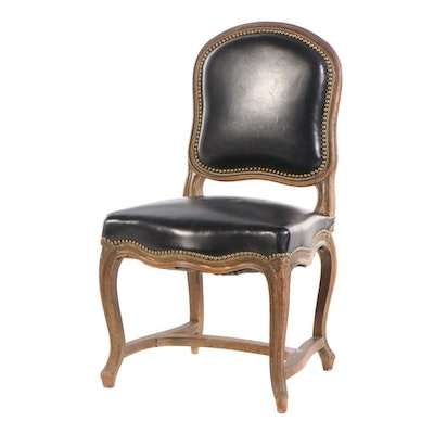 Louis XV Style Painted Beech and Black Leather Side Chair, 20th Century