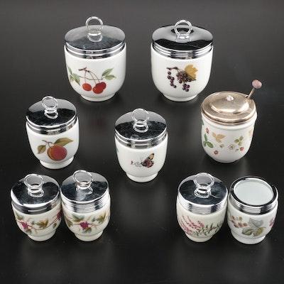Royal Worcester Porcelain Egg Coddlers with Wedgwood Lidded Condiment Jar