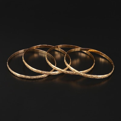 10K Yellow Gold Floral Bangle Bracelet Collection