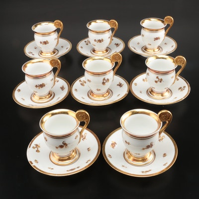 A. Lanternier & Co. Hand-Painted Porcelain Teacups and Saucers, 1891–1914