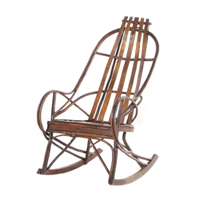 Adirondack Bent-Twig and Slatted-Oak Rocking Armchair, 20th Century
