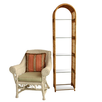 White Wicker Armchair and Wicker and Glass Display Shelf