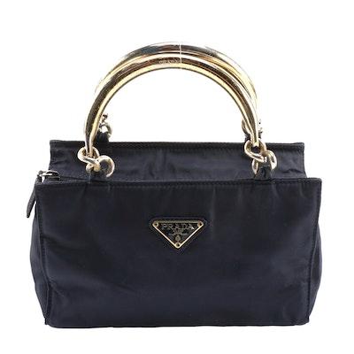 Prada Midnight Blue Tessuto Nylon Bracelet Handle Bag