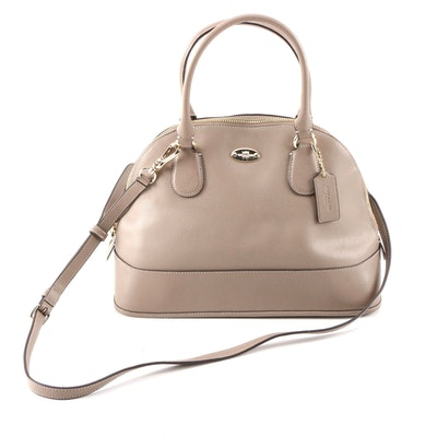 Coach Cora Domed Taupe Grained Leather Convertible Satchel