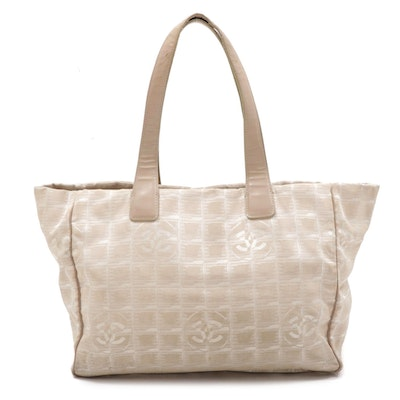 Chanel Travel Line CC Monogram Nylon and Beige Leather Tote Bag