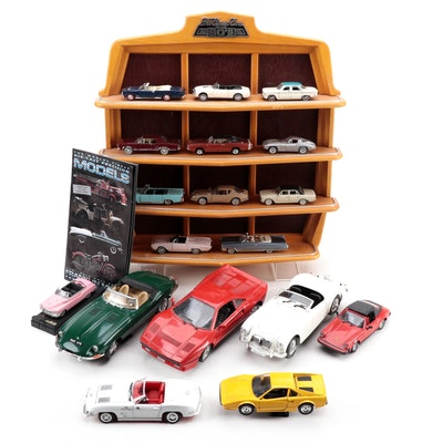 """Franklin Mint """"Classic Cars of the 60's"""" Display Shelf and Assorted Model Cars"""