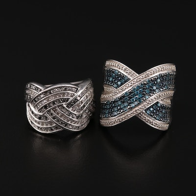 Sterling Silver Diamond Rings Featuring Woven Motif and Blue Diamonds
