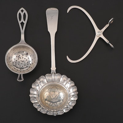 American Sterling Silver and Silver Plate Tea Strainers with Sterling Tongs
