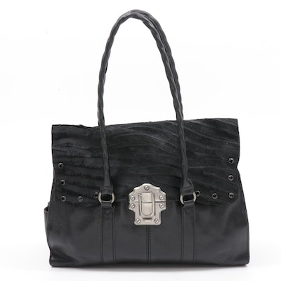 Patricia Nash Black Calf Hair and Leather Flap Front Shoulder Bag