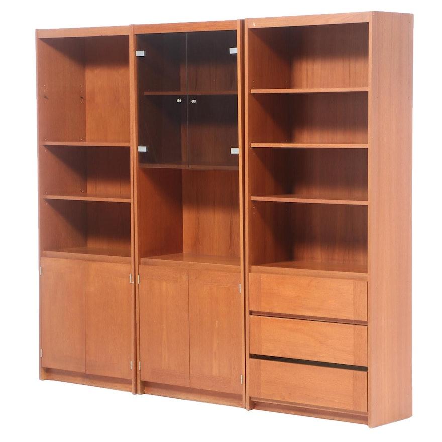 3-Piece Grained Veneer Media Cabinet, Late 20th Century
