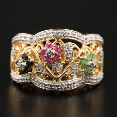Sterling Silver Ruby, Sapphire, Emerald and Diamond Ring