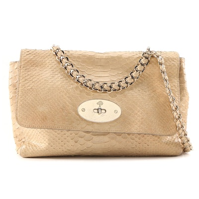 Mulberry Metallic Silky Snake Python Embossed Leather Shoulder Bag