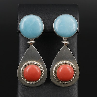 Sterling Silver Quartz and Imitation Coral Drop Earrings