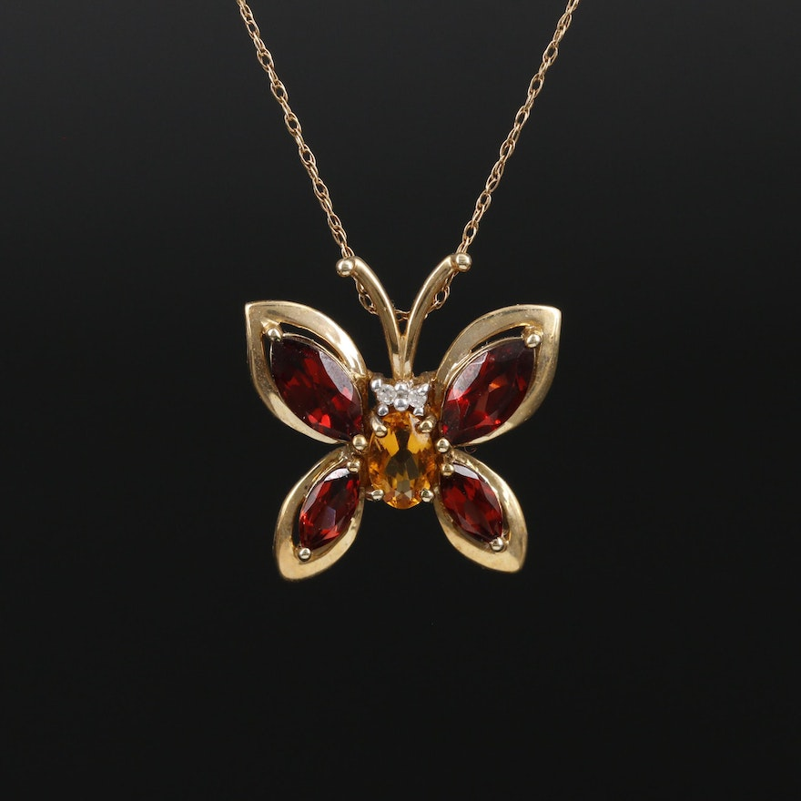 10K Yellow Gold Garnet, Citrine, and Diamond Butterfly Pendant Necklace
